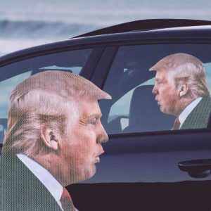 Vinduessticker med Donald Trump